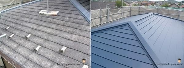 2階部分の屋根カバー工法
