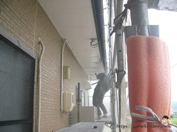 1階軒天部分の塗装剥ぎ