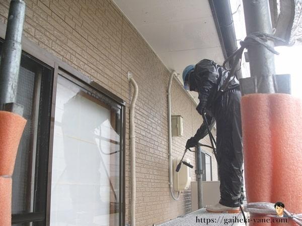 1階外壁部分も高圧洗浄