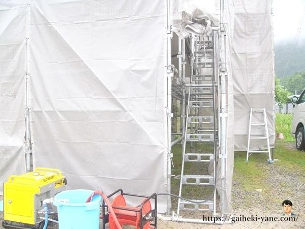 2階外壁の高圧洗浄