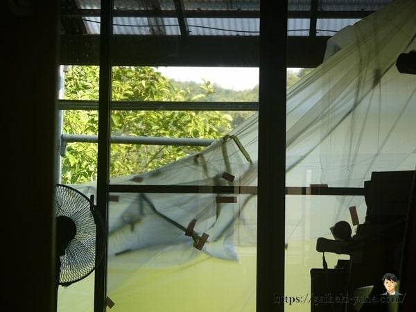 外壁塗装が行われた窓の養生が撤去