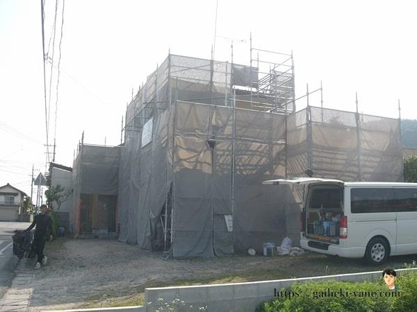 6月24日:1階外壁下塗り&軒天仕上げ塗り